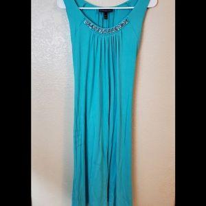 Lane Bryant blue sleeveless beaded maxi dress